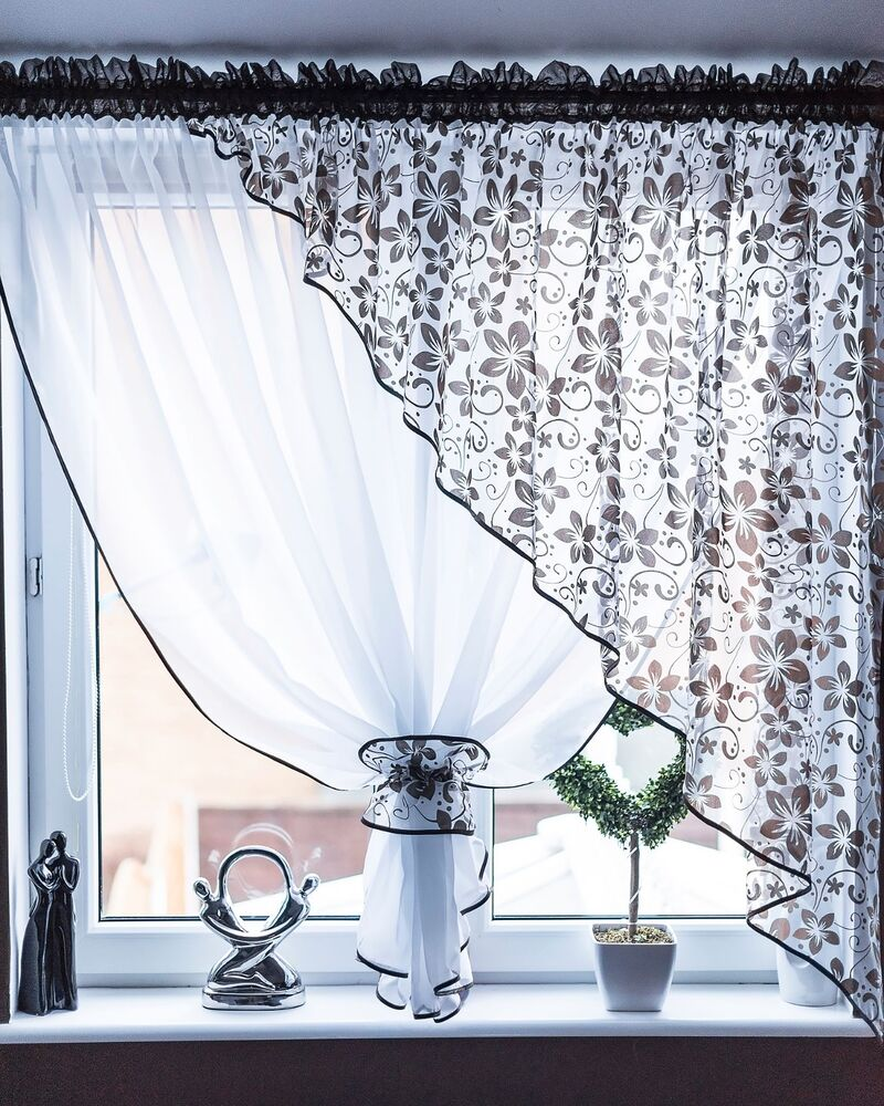 Modern Floral Set Of Voile Net Curtains Ideal For Kitchen