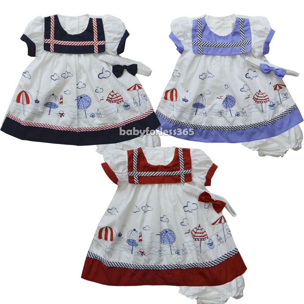 NWT Baby Girls Dress w Diaperwear Headband Clothes Outfit ...