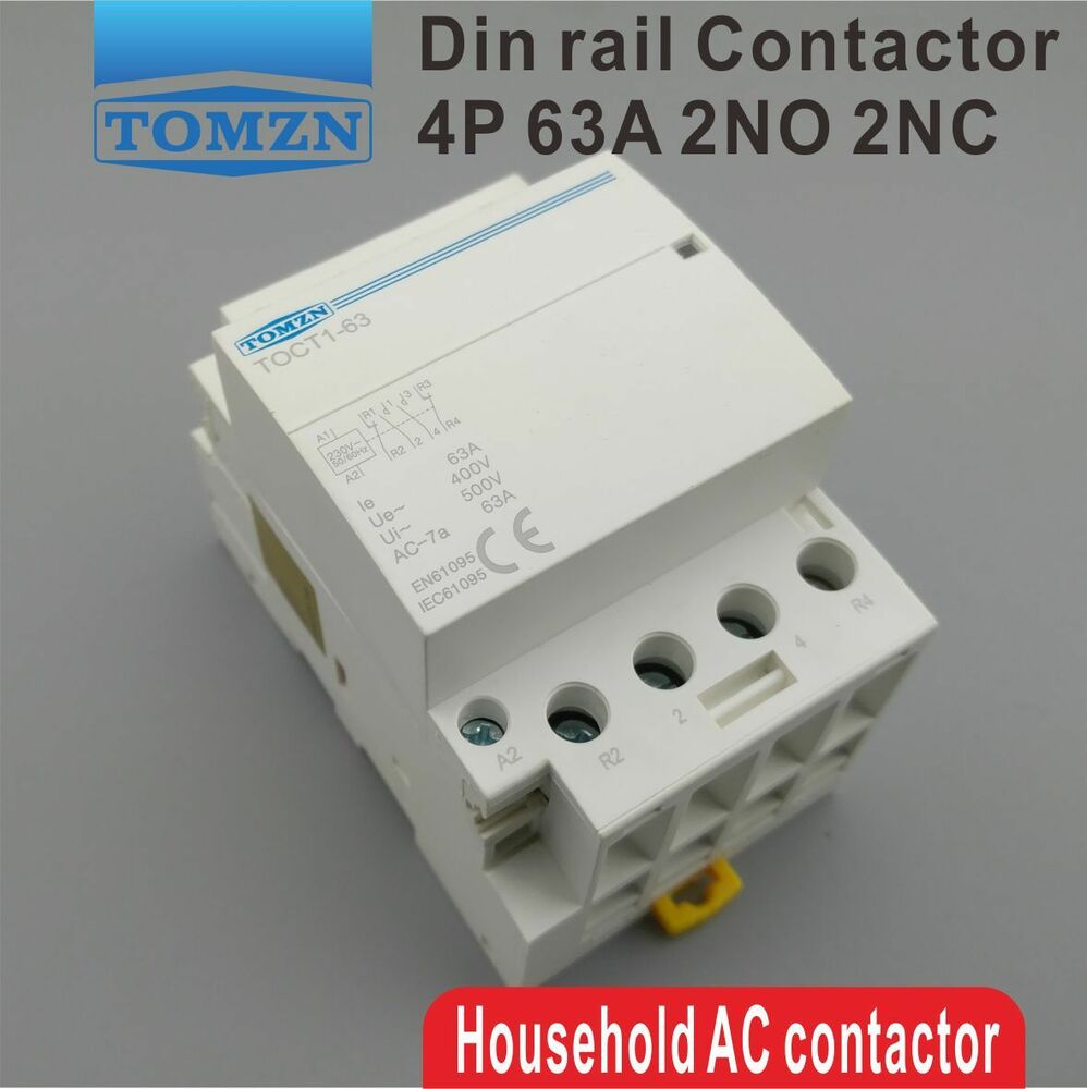 4 Pole Contactor 2 No 2nc Wiring Diagram Library Toct1 4p 63a 2no 220v 400v 50 60hz Din Rail Household Ac