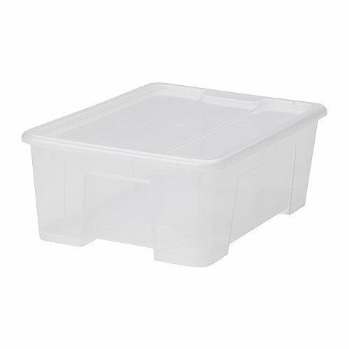 ikea aufbewahrungsbox samla kunststoff box 11 liter mit deckel transparent ebay. Black Bedroom Furniture Sets. Home Design Ideas