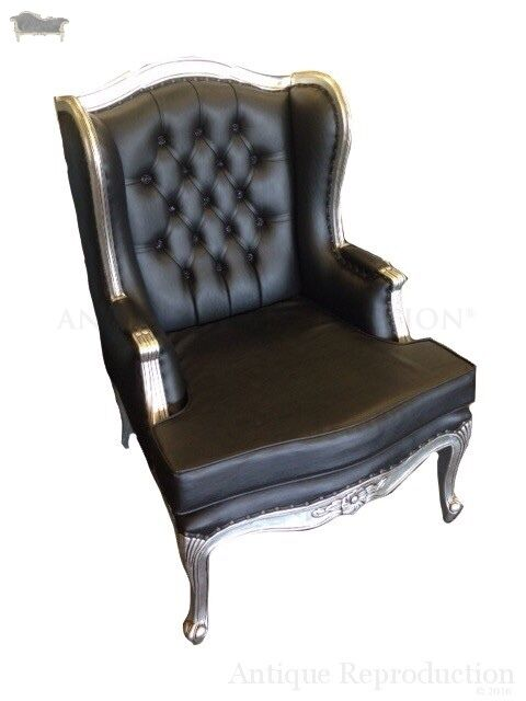 wing back chair victorian black leather antique reproduction