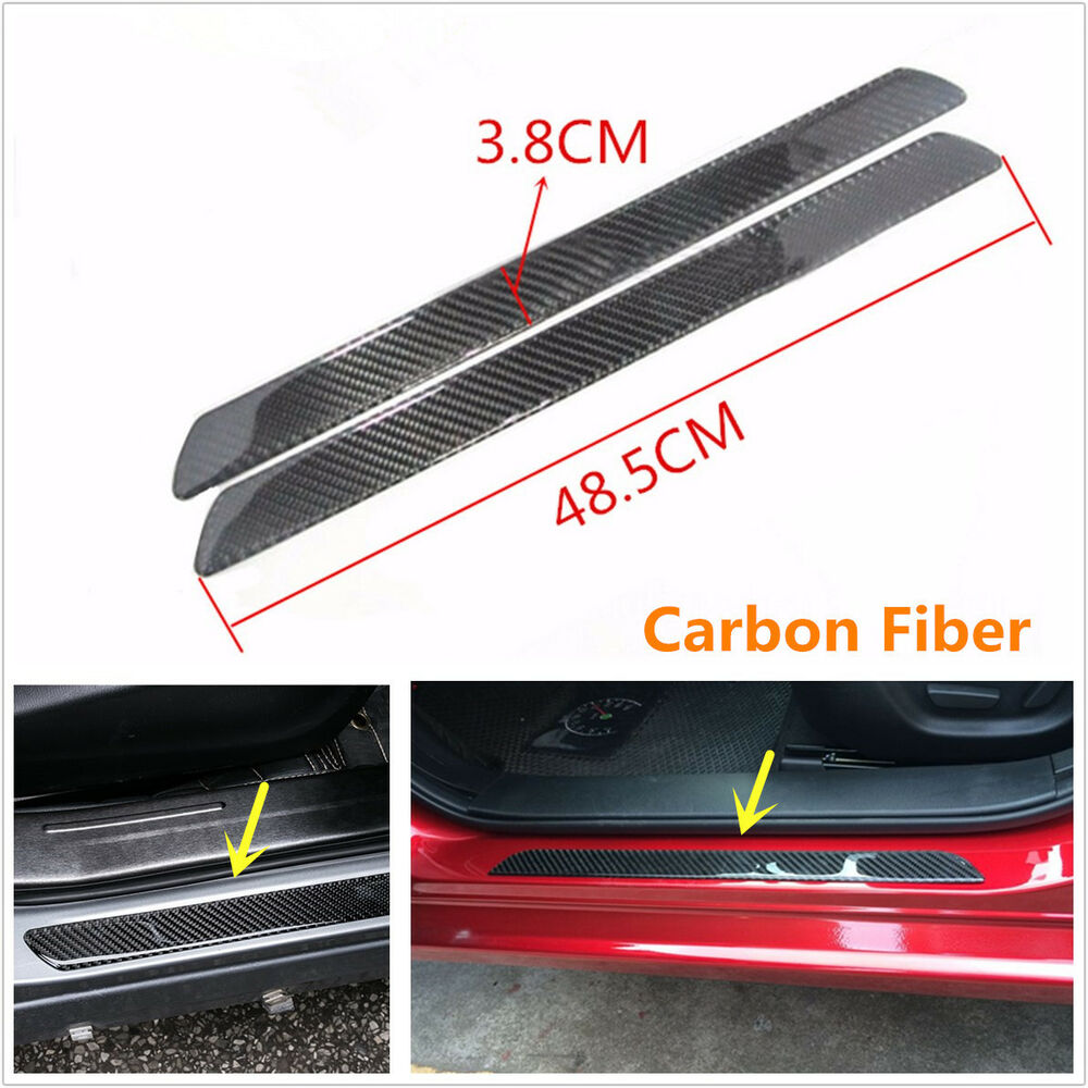 2pcs real carbon fiber auto car scuff plate door sill cover panel step protecors ebay. Black Bedroom Furniture Sets. Home Design Ideas