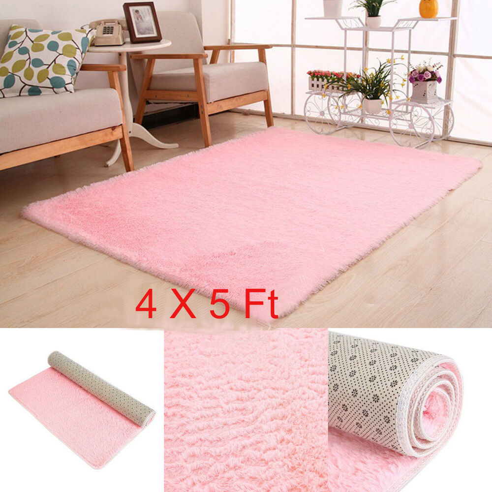Living Room Carpet Shag Rug Soft For Children Play Pink 4X5 Ft