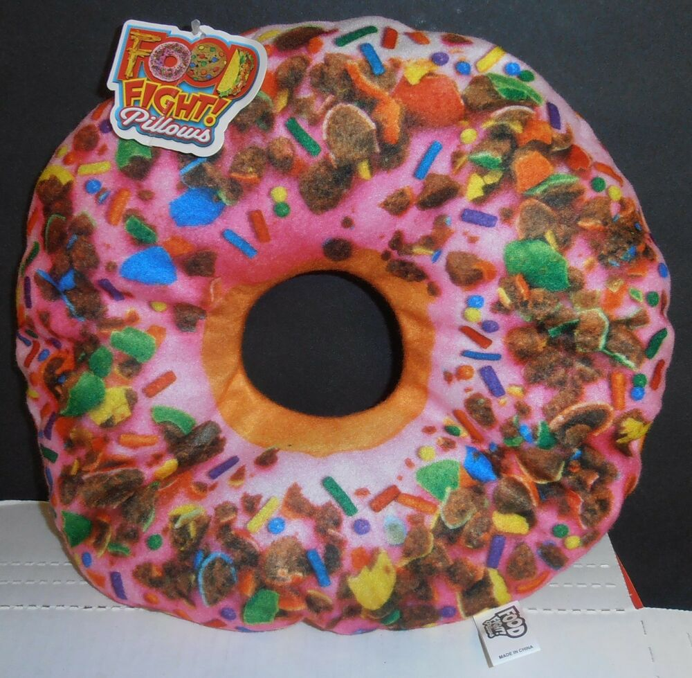 Food Fight Pillows Pink Frosted Donut Throw Pillow By
