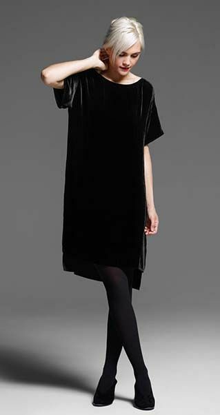 Eileen Fisher New Black Velvet Bateau Neck Hi Low Dress