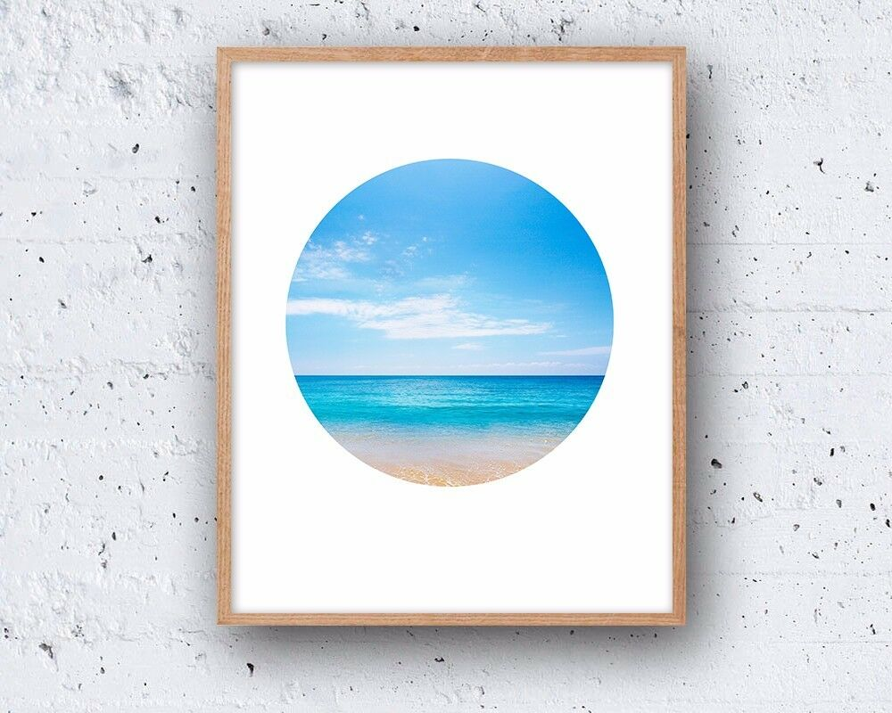 8 x 10in minimalist circle beach holiday ocean sea decor for Modern minimalist wall art