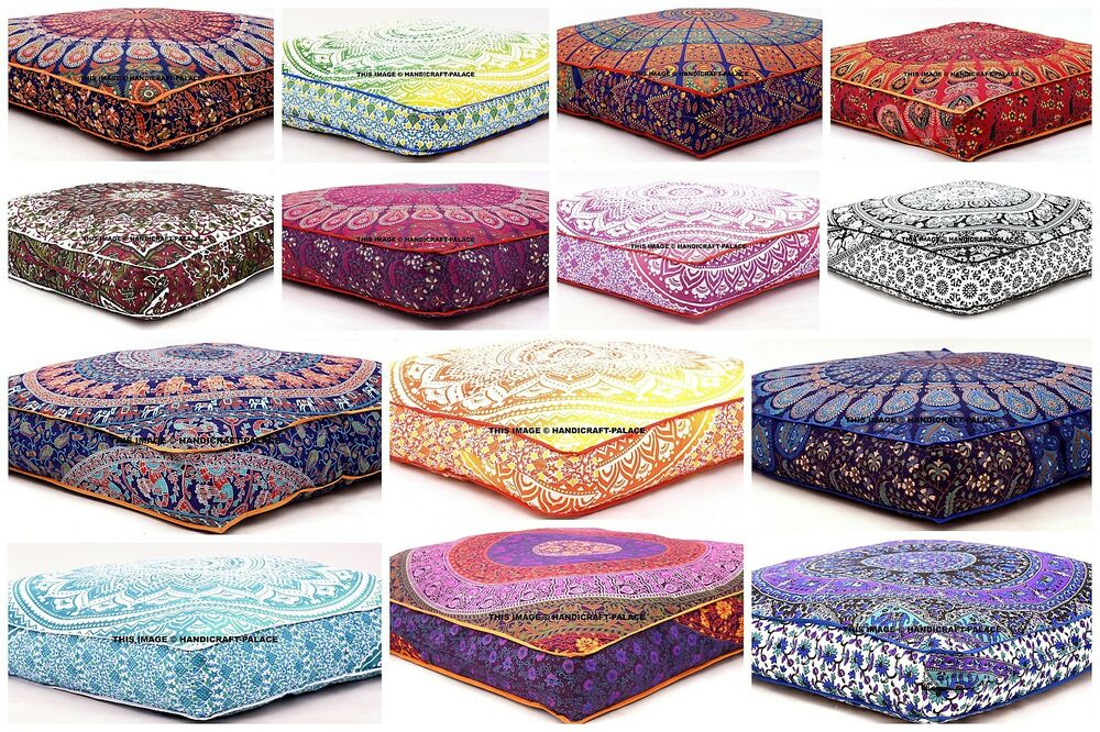 The Indian Screen Printed Floor Pillow cushion cover from Rajsthan India. This beautiful pillow cushion covers is a best way to add multi color to your Floor .