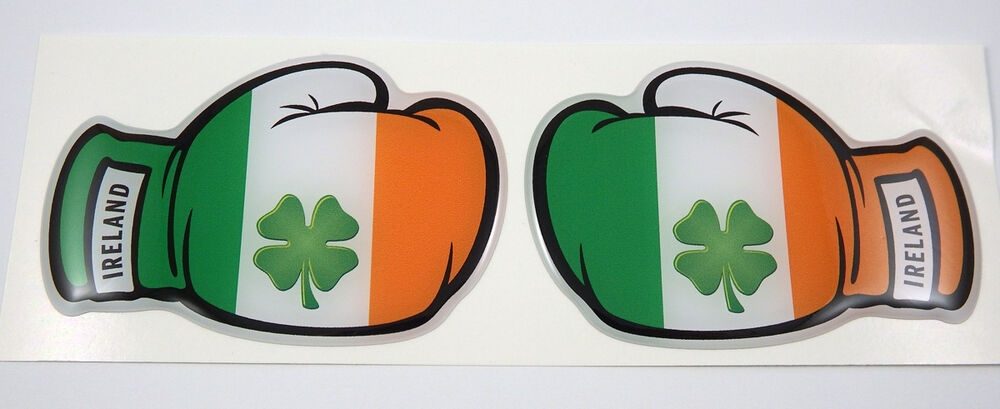 2 Boxing Gloves Ireland Irish Flag Domed Decal Emblem Car
