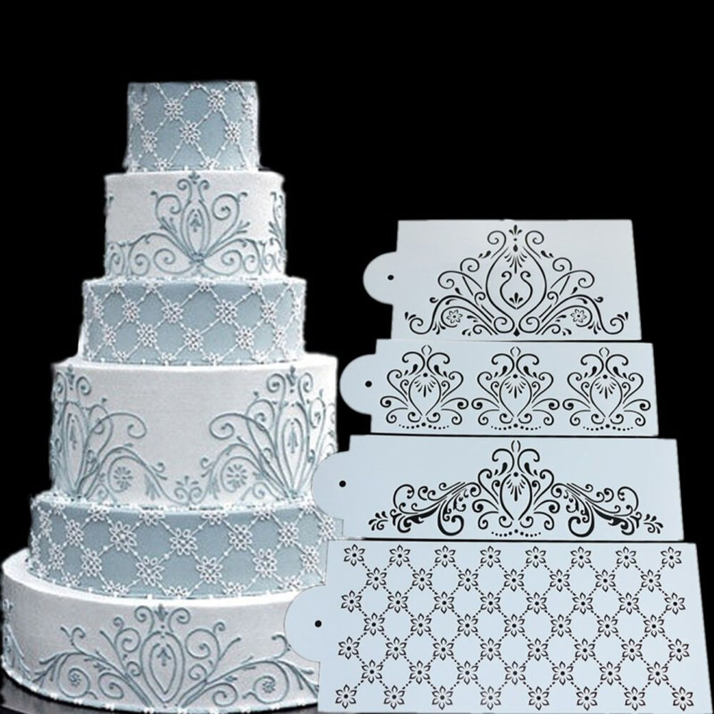 Princess Lace Cake Stencil Set Wedding Cake Cookie Border