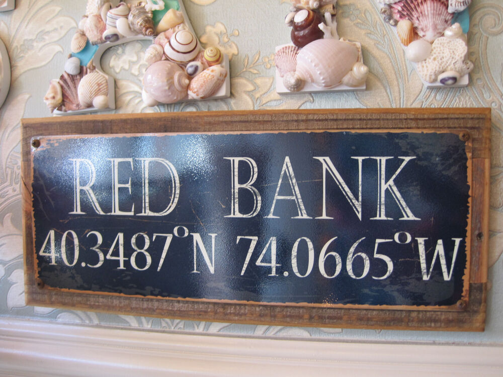 "Wooden Coastal Decor: ""Red Bank"" Sign"