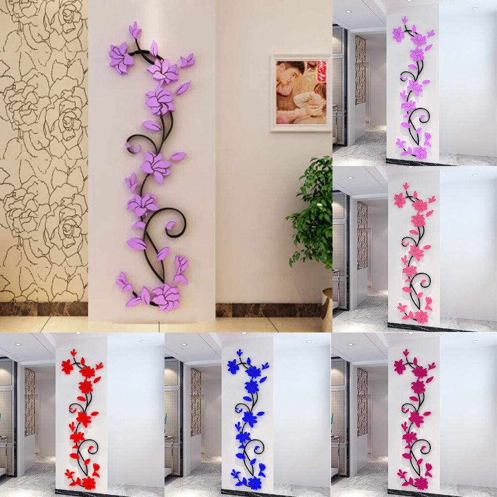 3d rose flower removable wall vinyl decal art home decor for 3d wall decoration stickers