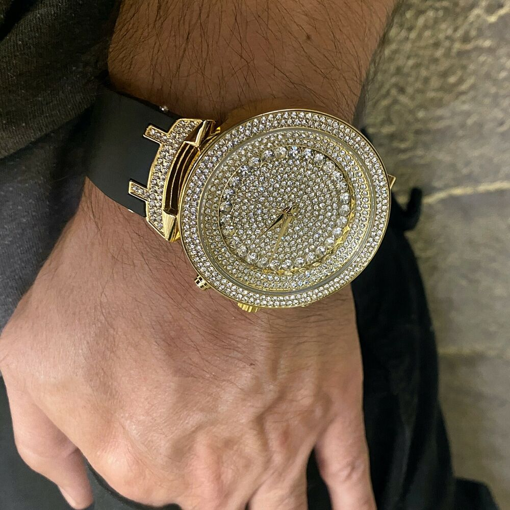 Men 39 s hip hop bling watch round micro pave men big iced for Rapper watches