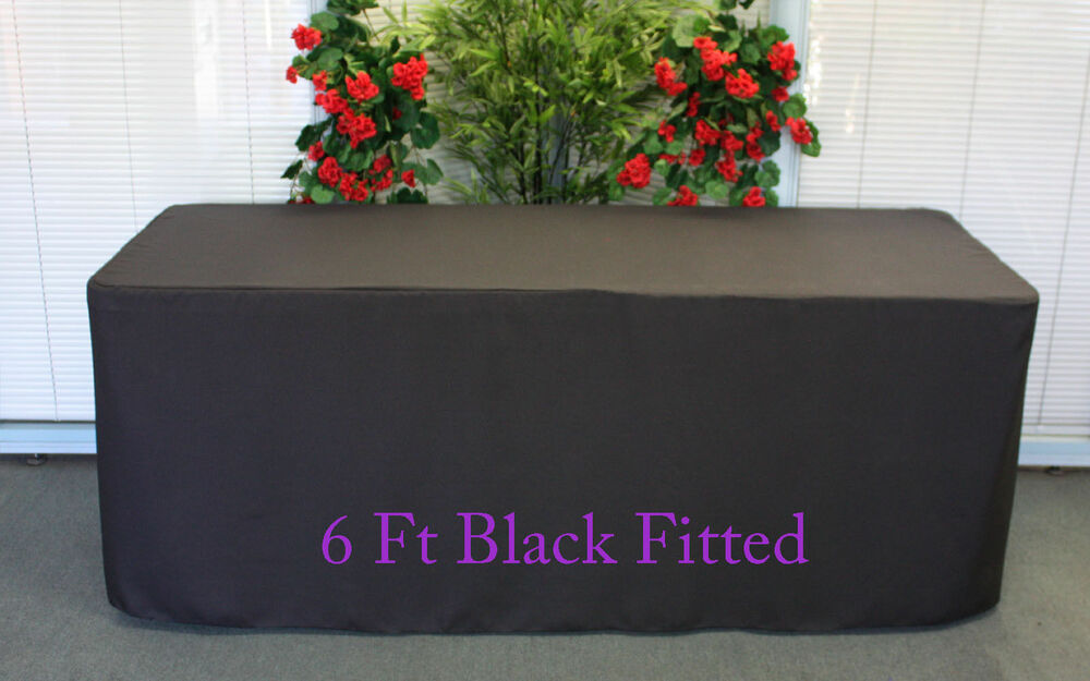 Black Fitted 6 Ft Tablecloth Polyester Table Cover Wedding