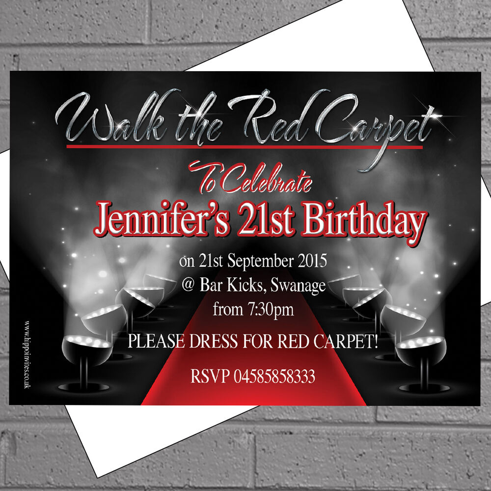 Details About Hollywood Red Carpet Themed Birthday Party Invitations X 50 Envs H0042
