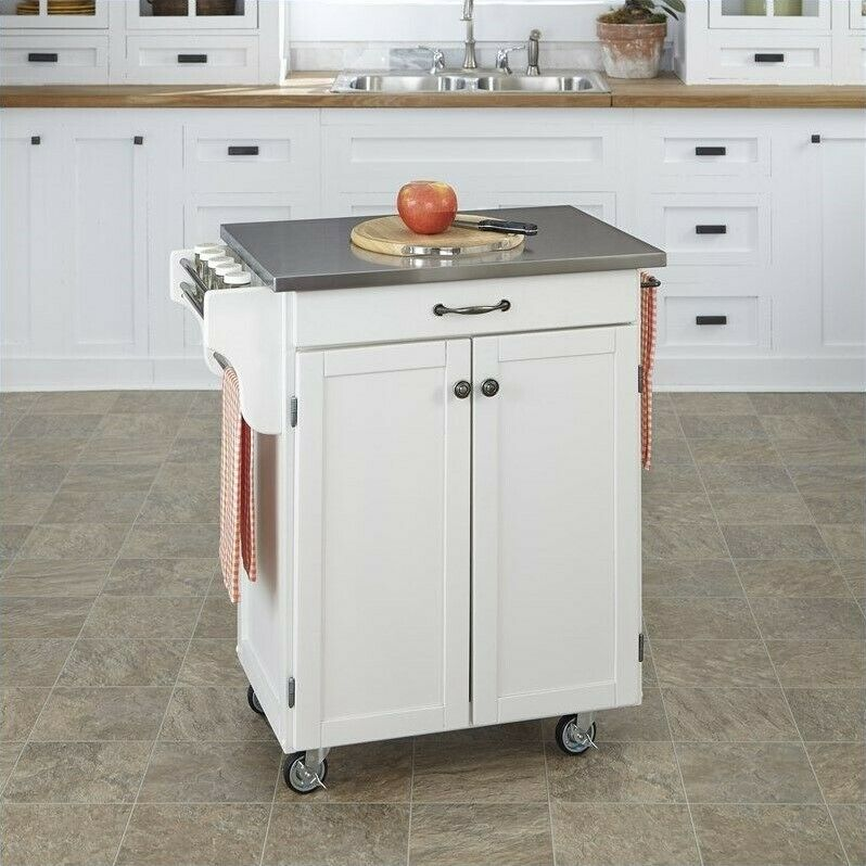 Home Styles Furniture White Kitchen Cart With Stainless