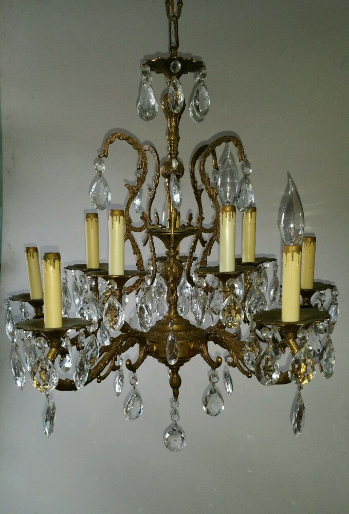 Vintage Antique Brass Bronze Crystal Spain Chandelier 10 Lights Lamp Ebay