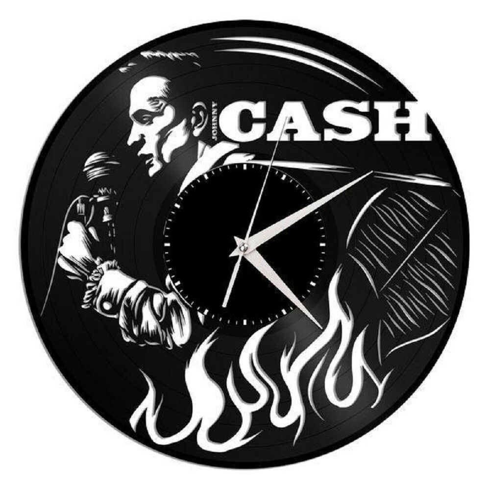 Johnny cash clock country wall art clock home decor for Vinyl records decorations for wall