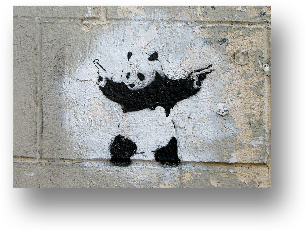 Banksy Panda With Guns Canvas Picture Wall Art Large