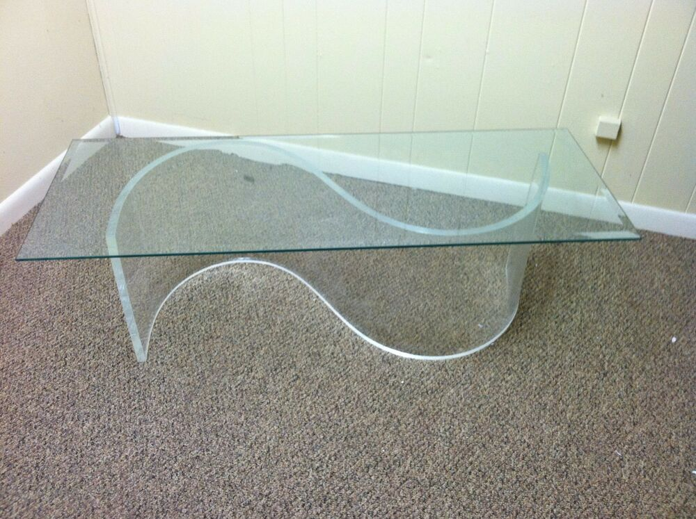 Clear Acrylic Lucite S Shaped Coffee Cocktail Mid Century Modern Table Base Ebay