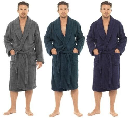 hommes luxe 100 ponge coton peignoir robe de chambre enveloppant pyjama ht566 ebay. Black Bedroom Furniture Sets. Home Design Ideas