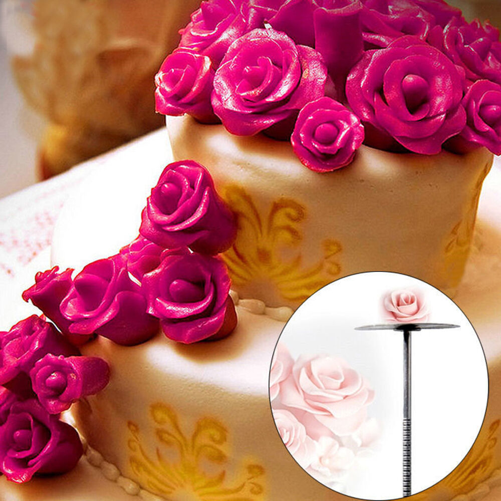 Cake Decorating Nails : Piping Rose Flower Nail Icing Cream Bake Cake Decorating ...