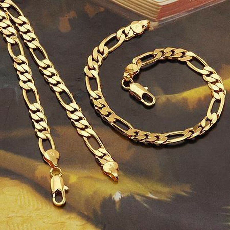 mens womens 24k gold filled necklace bracelet set figaro. Black Bedroom Furniture Sets. Home Design Ideas
