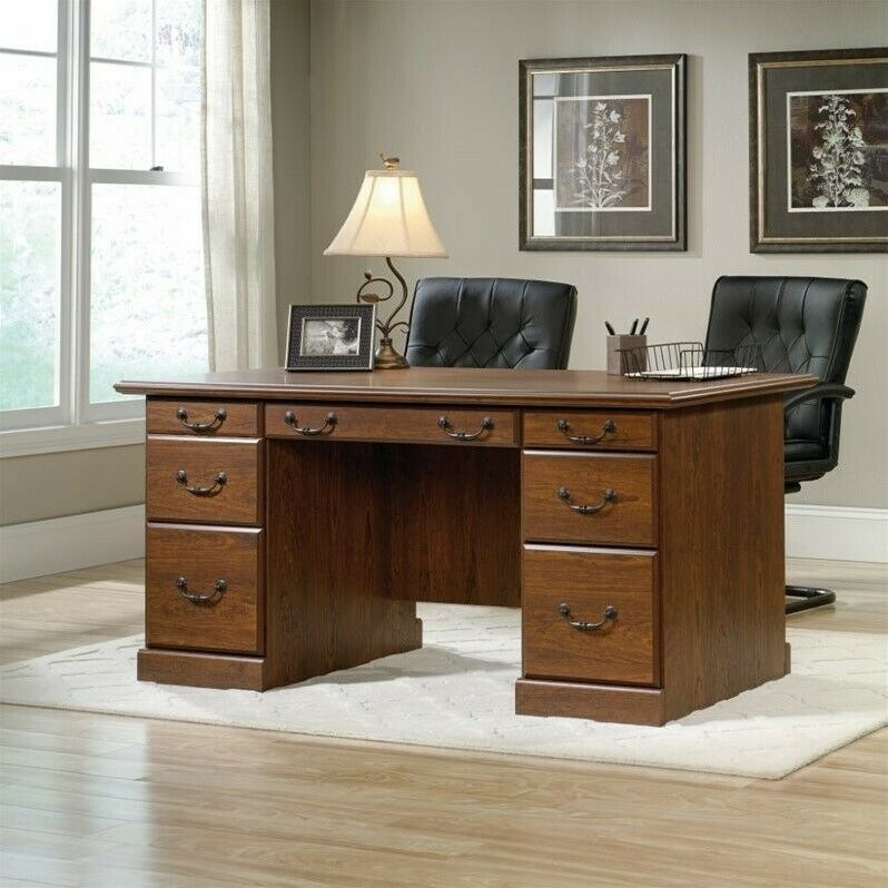 Warm Cherry Executive Desk Home Office Collection: Sauder Orchard Hills Executive Desk In Milled Cherry