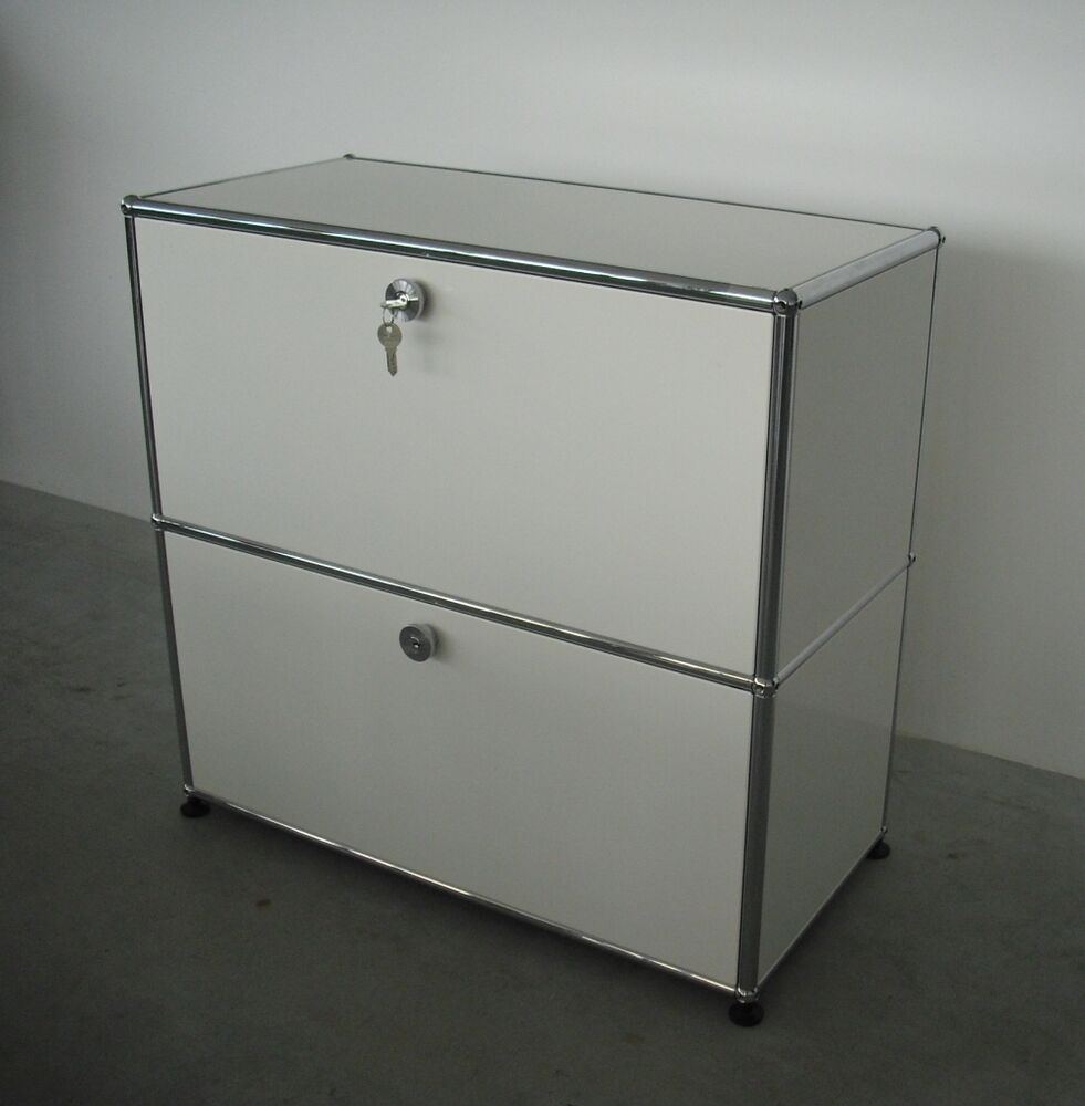usm haller sideboard fritz haller weiss 2 klappen 2oh tiefe 35 cm ebay. Black Bedroom Furniture Sets. Home Design Ideas