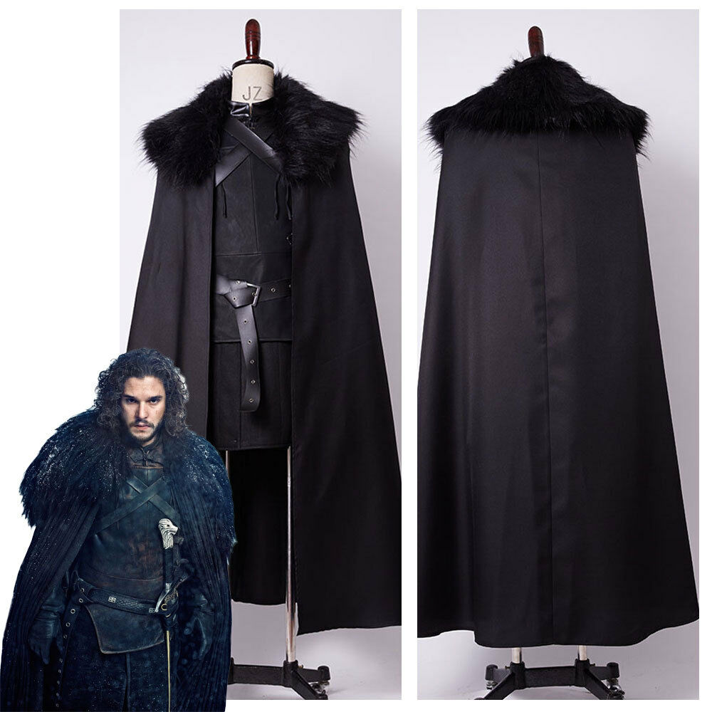 game of thrones jon snow cosplay kost m schwarz umhang. Black Bedroom Furniture Sets. Home Design Ideas