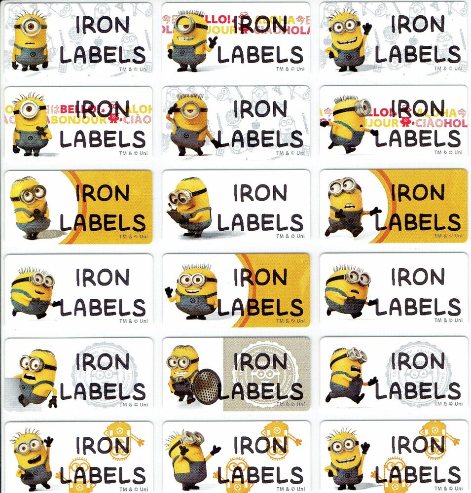 Medium minions personalised iron on clothing name labels for Iron on shirt labels