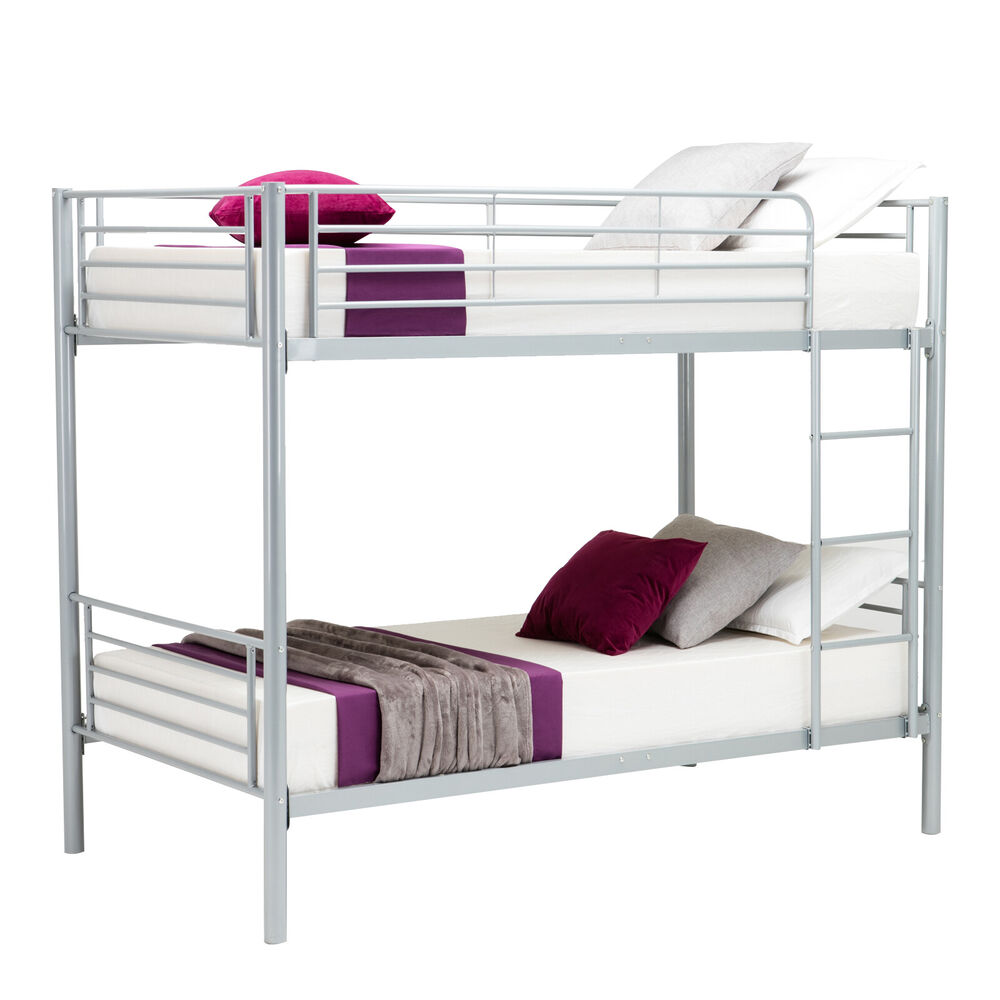 Twin over metal bunk beds frame ladder for kids adult dorm for Twin size childrens bed frames