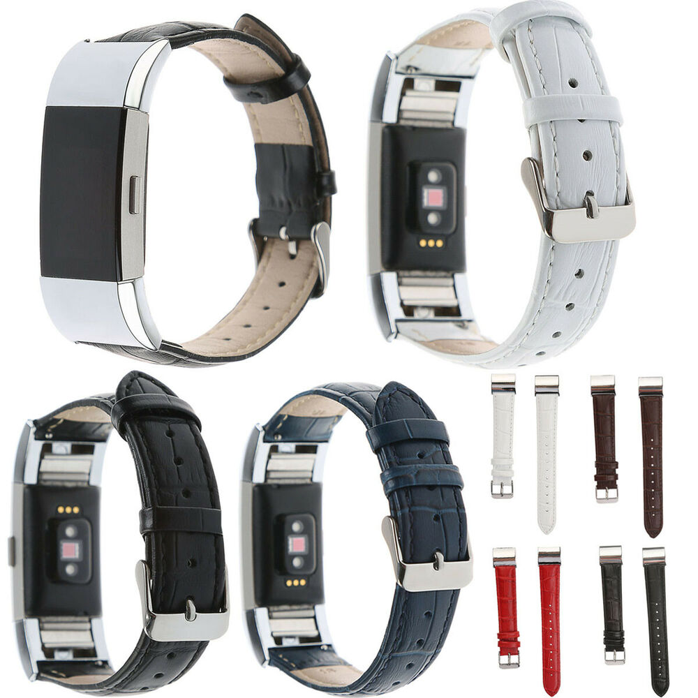 for fitbit charge 2 leather strap leather band braclet wristband ebay. Black Bedroom Furniture Sets. Home Design Ideas