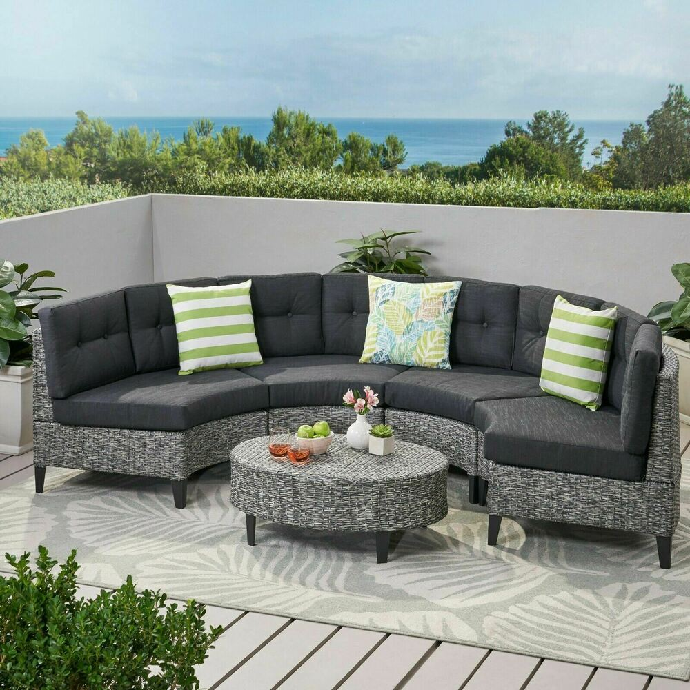 currituck outdoor 5 piece mixed black wicker sofa set with dark grey water resis ebay. Black Bedroom Furniture Sets. Home Design Ideas