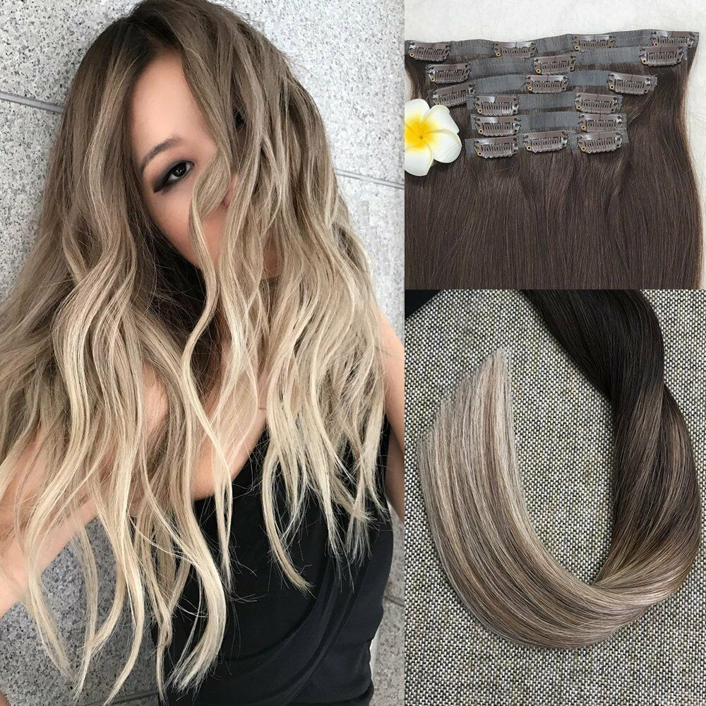 ombre m s oscuro color rubio destac balayage sin costuras clip en extensiones de cabello ebay. Black Bedroom Furniture Sets. Home Design Ideas