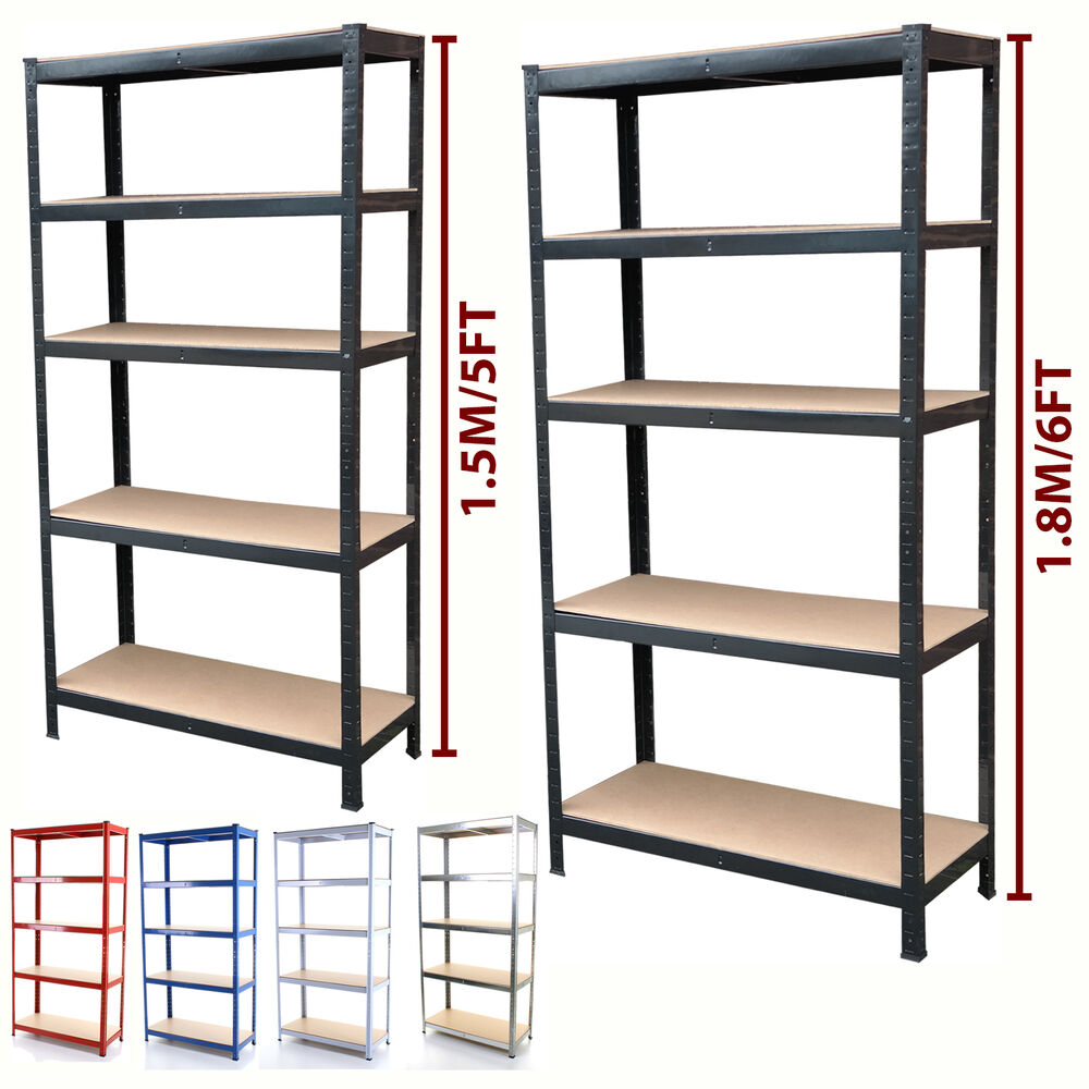 5 tier metal shelving unit heavy duty boltless industrial. Black Bedroom Furniture Sets. Home Design Ideas