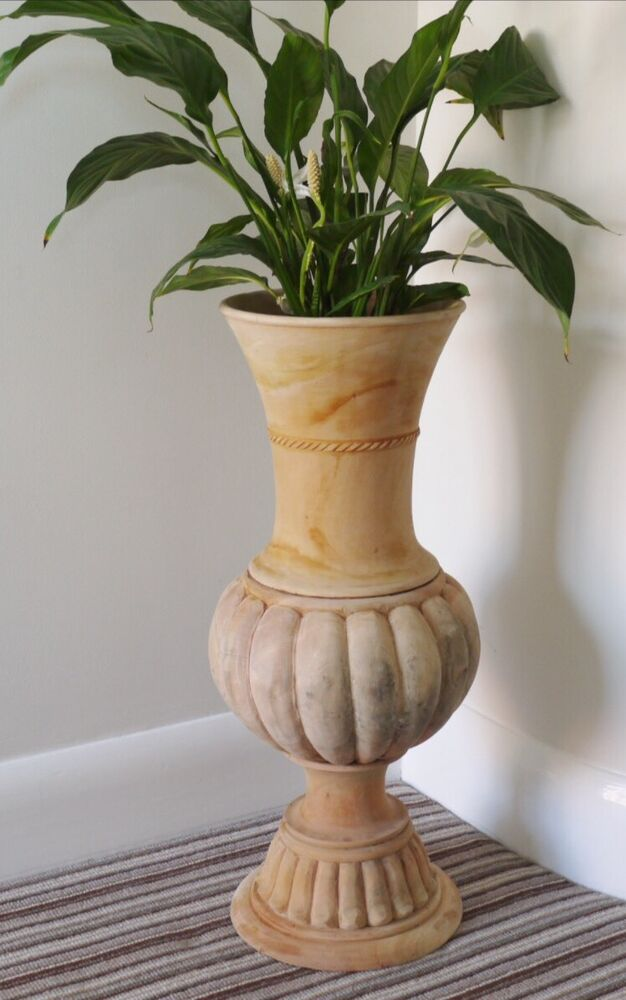 Tall large natural solid mahogany wood traditional urn carved floor vase new ebay - Large decorative vases and urns ...