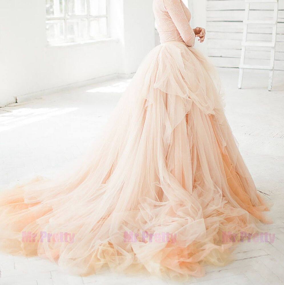 Champagne long train wedding bridal party tulle skirts for How to make a long tulle skirt for wedding dress