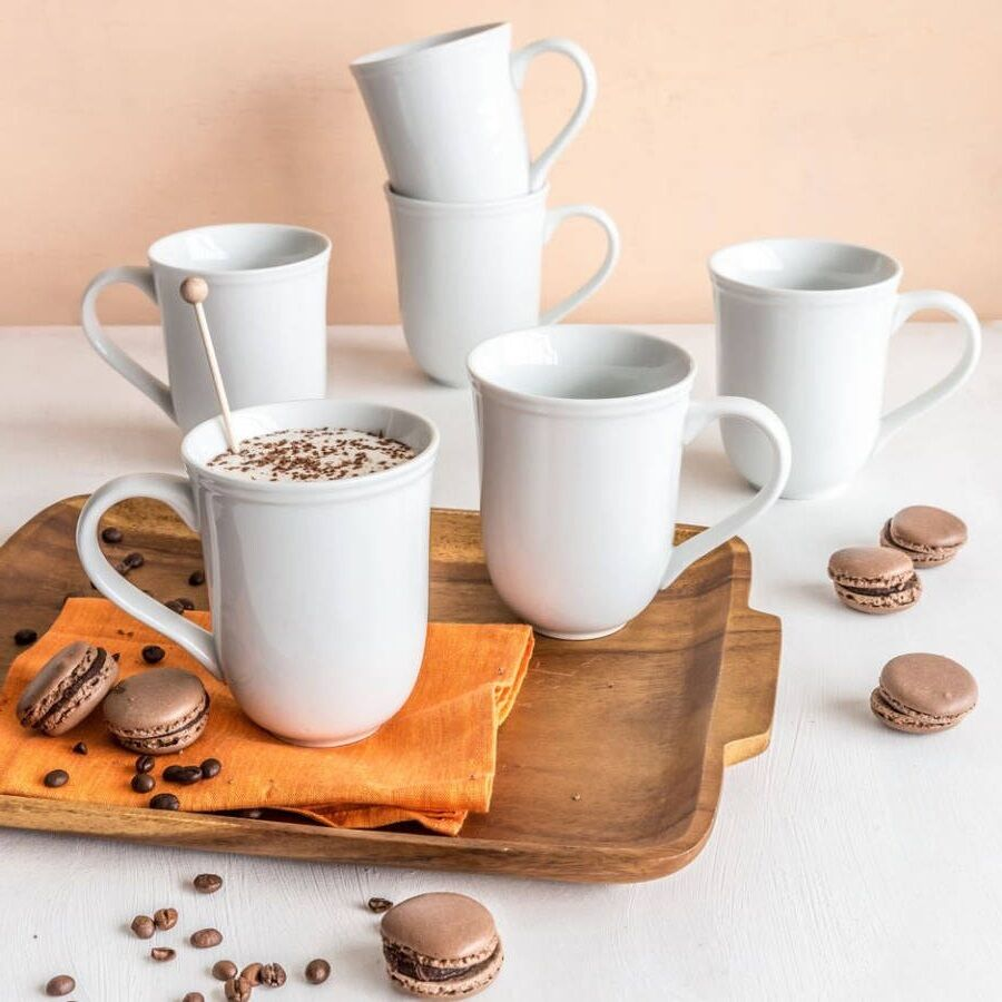 Coffee Set Cappuccino Mugs Cups White Porcelain 6 Piece ...