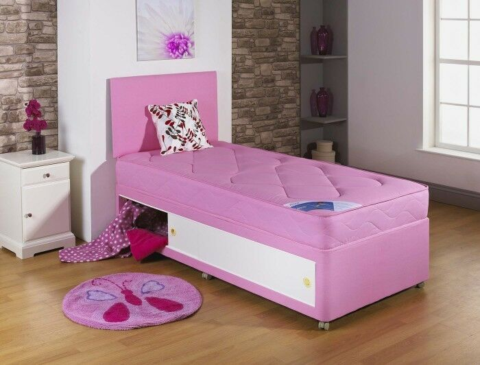Pink 3ft single divan bed kids bed slide storage 2 for Double divan bed with slide storage