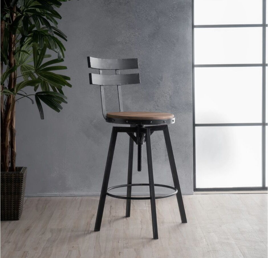Industrial Metal Bar Stool Adjustable Wood Back Kitchen High Chair Dining Rustic Ebay