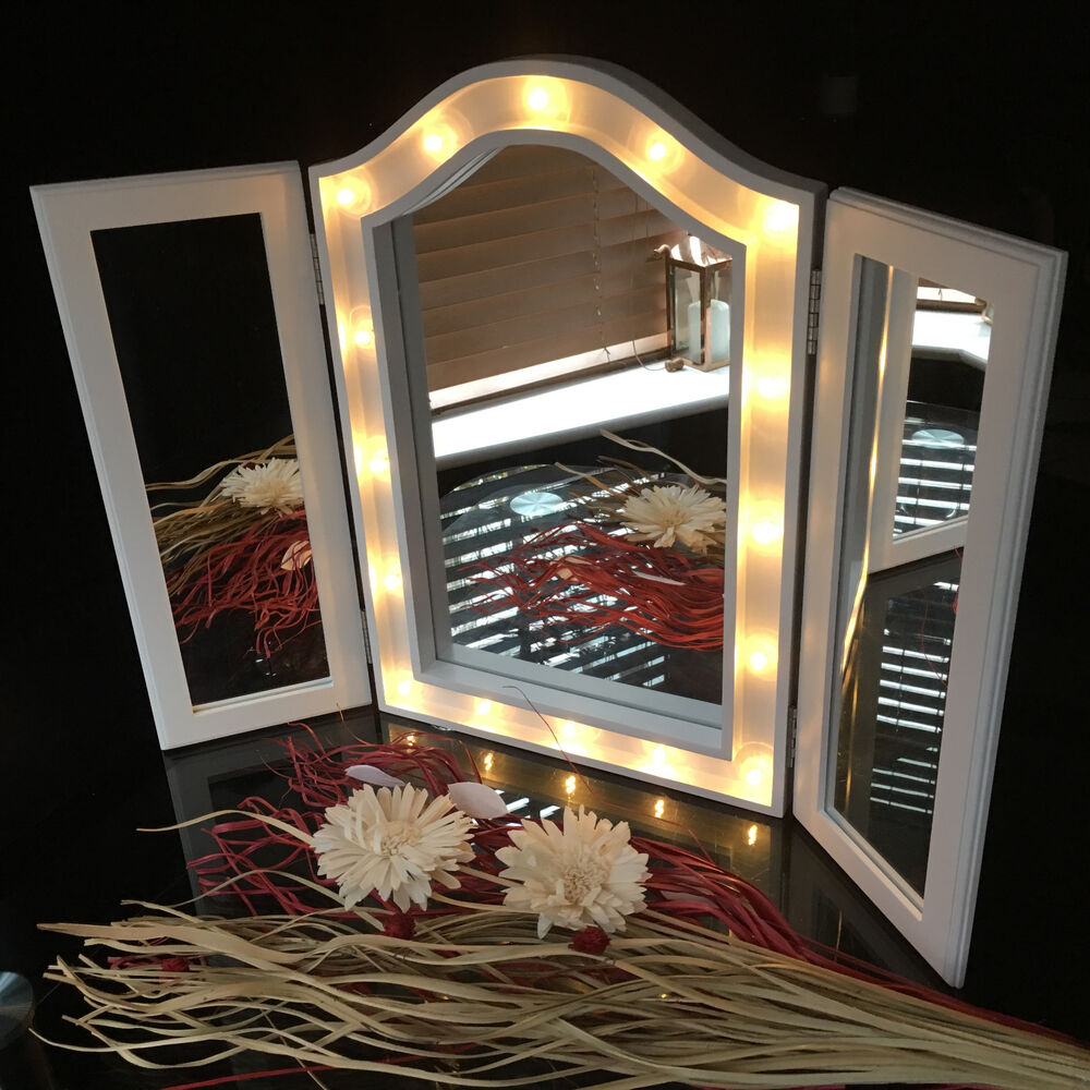 Mirrored Vanity Dressing Table Lights Led ~ Large triple fold way sections led mirror dressing