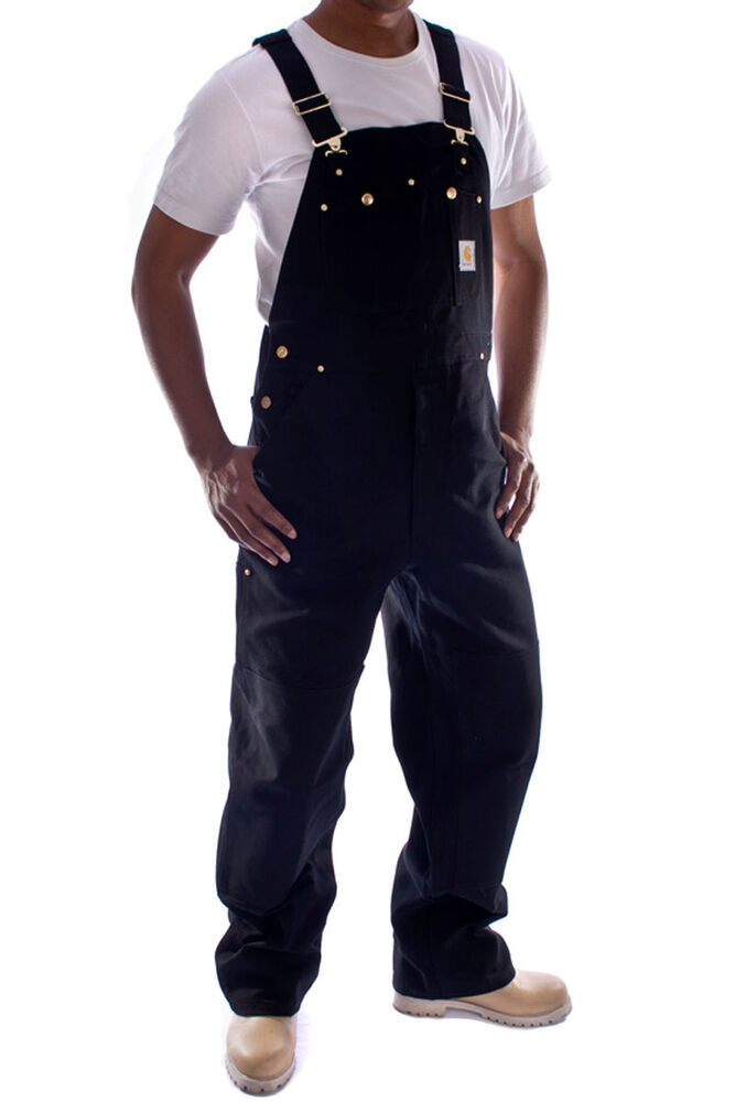 carhartt denim dungarees overalls black ebay. Black Bedroom Furniture Sets. Home Design Ideas