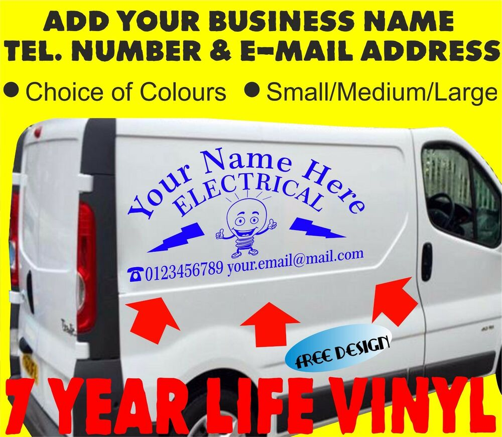 Vehicle sign writing electrician van sticker sign self adhesive graphics electri ebay