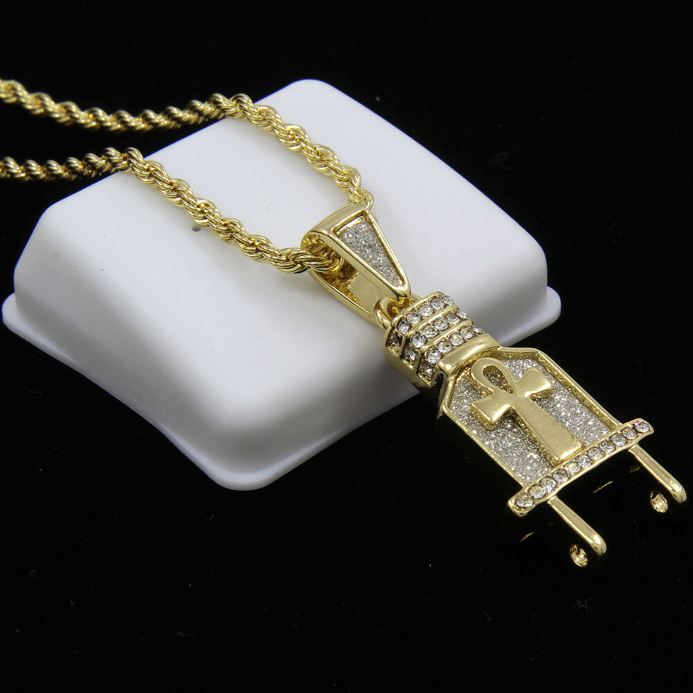 Gold Plated Iced Out Ankh Wall Plug Hip Hop Pendant 24