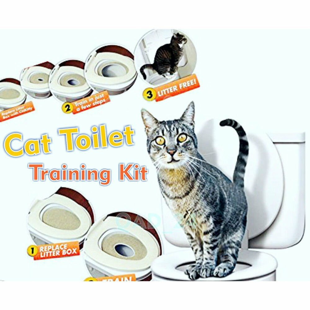 Cat toilet training seat litter tray kit potty train for Commode kitty