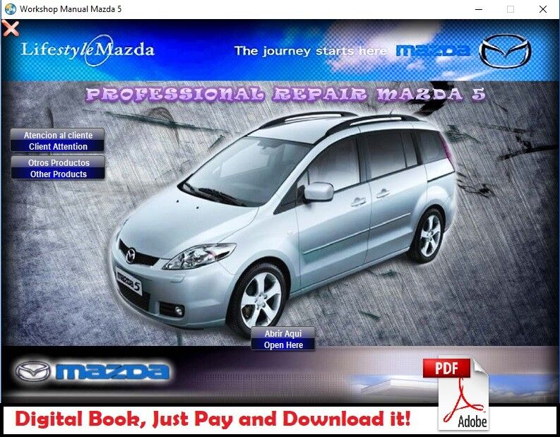 Factory Service Manual Fsm Repair Manual For Mazda 5 2005