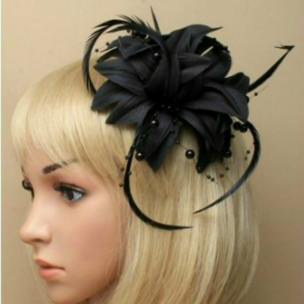 Ladies Black Beaded Feather Fascinator With Tendrils Ebay