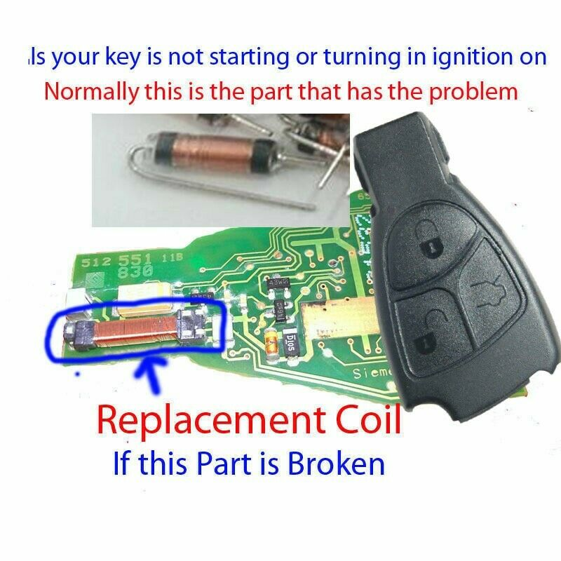 Mercedes 3 button key fob remote inductance coil c e s for Mercedes benz ignition key troubleshooting