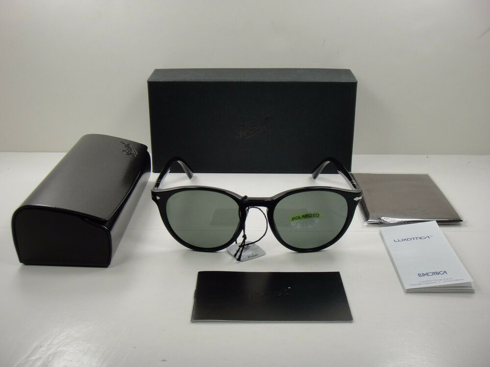 6a105c0bae Details about AUTHENTIC PERSOL SUNGLASSES PO3152S 901458 BLACK FRAME  POLARIZED GREEN LENS 52MM