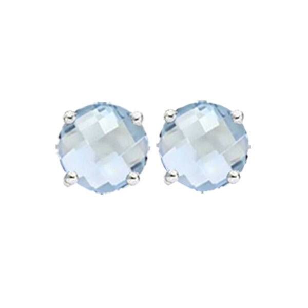 506216c3a Details about Solid 14K White Gold Round Basket Checkerboard 6mm 7mm Aquamarine  Stud Earrings